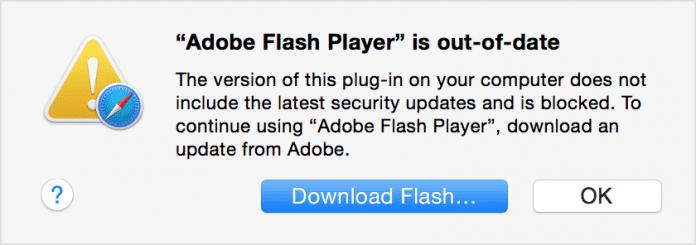 Safari weist auf die veraltete Flash-Version hin