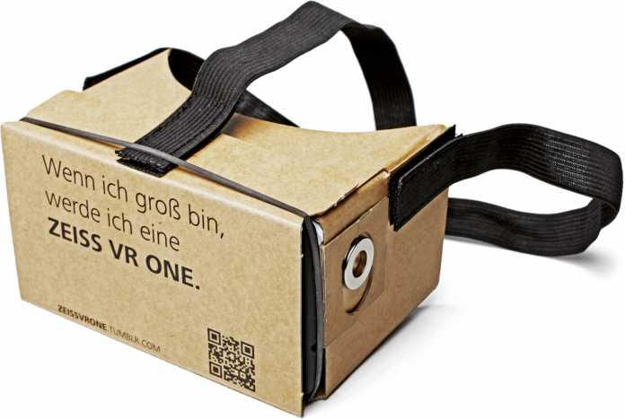 Die VR-Brille des c't wissen Virtual Reality zusammengebaut - das Gummiband haben wir nachträgliche an der Brille befestigt, es gehört nicht dazu.