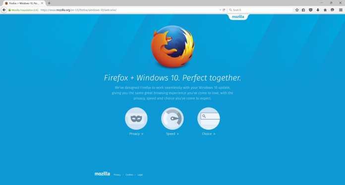 Unter Windows 10 erhielt Firefox 40 eine leicht überarbeitete Bedienoberfläche.
