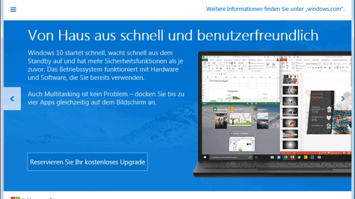 Windows 10: Installationsfenster