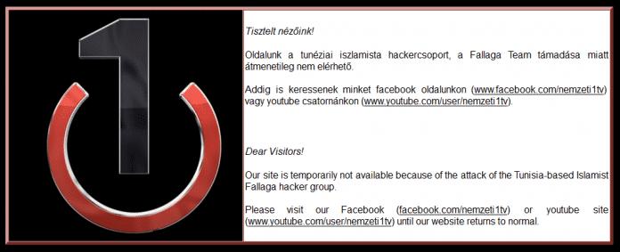Mit dieser Meldung informiert der ungarische TV-Sender seine Besucher über die Attacke der tunesischen Hacker.