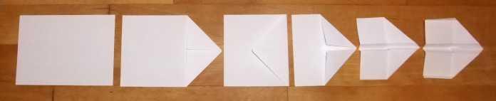 Der Papierflieger Automatix entsteht durch wenige Faltungen und ist für die maschinelle Produktion optimiert.