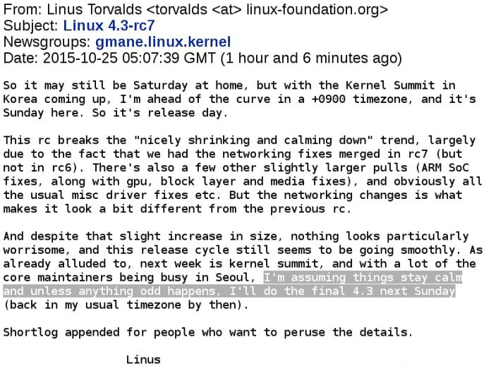 Linux 4.3 soll zum Start des Novembers erscheinen.