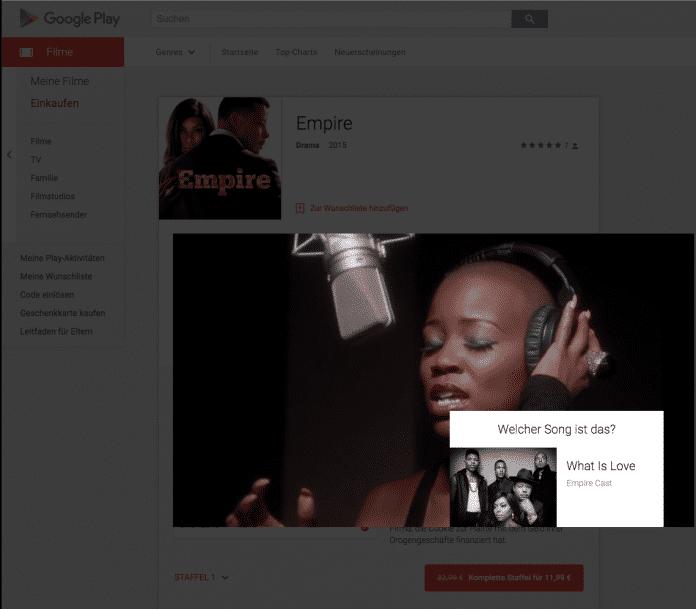 """Spielt man die Serie """"Empire"""" über Google Play im Browser ab und pausiert die Wiedergabe, wird der gerade laufende Titel eingeblendet - natürlich mit Link zum Album-Angebot."""