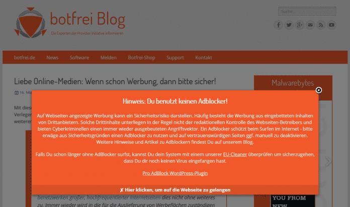 botfrei.de warnt davor, keinen Adblocker zu benutzen.