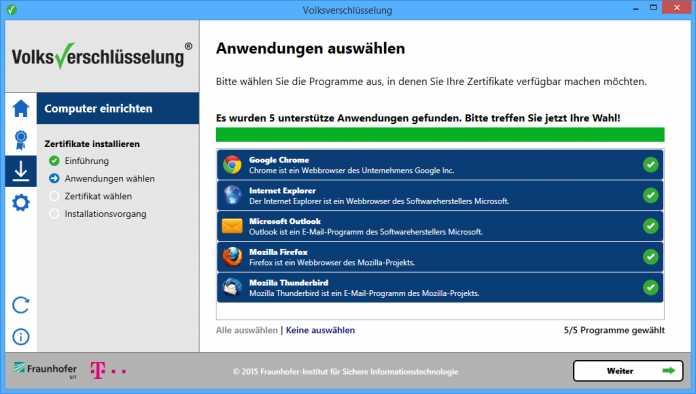 Die Volksverschlüsselung gibt es vorerst nur für Windows und die Anwendung konfiguriert die E-Mail-Clients Outlook und Thunderbird.