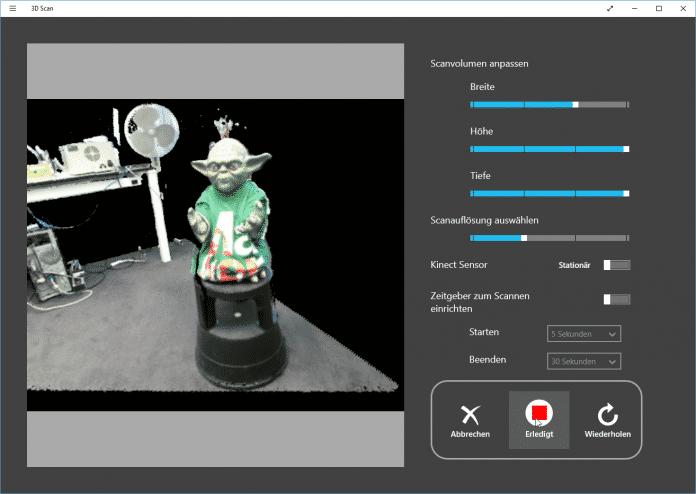 Ein paar Klicks und der Raum wandert in den Kasten – die 3D-Scan-App von Microsoft.