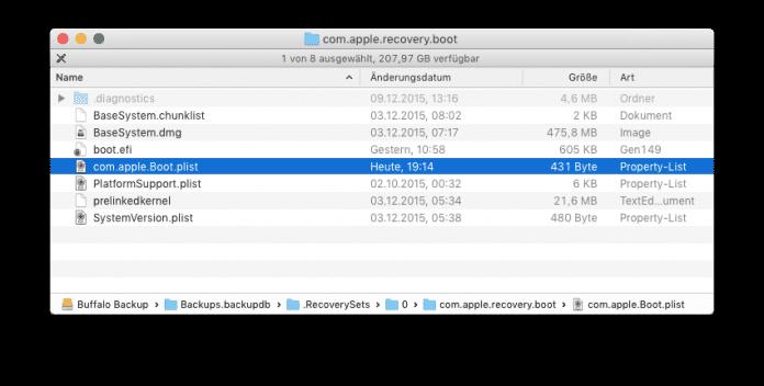 """Mit der korrigierten Datei """"com.apple.Boot.plist"""" lässt sich das Recovery-System eines lokal angebundenen Time-Machine–Backups wieder starten."""