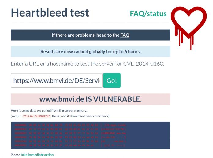 Dieser Heartbleed-Test zeigt, dass es sich keineswegs um ein theoretisches Problem handelt, denn er stiehlt direkt Daten aus dem Speicher des getesteten Servers.
