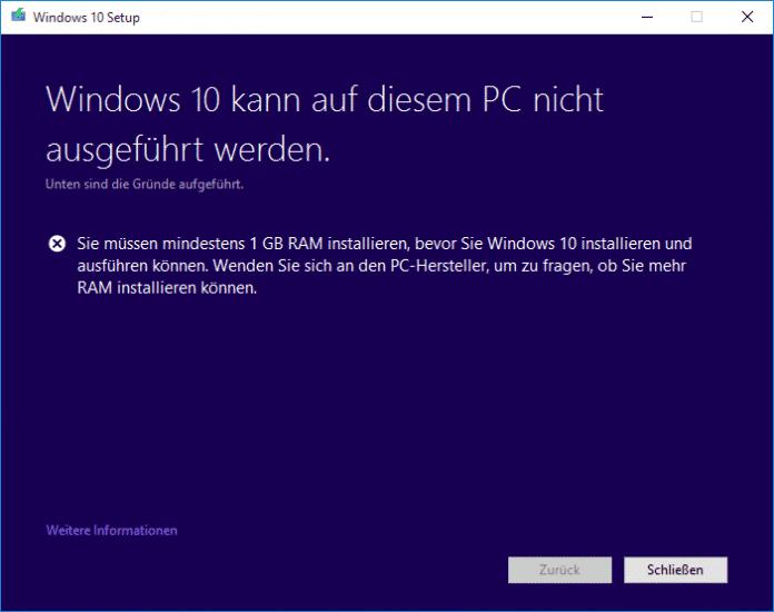 Erfüllt der PC nicht die Mindestanforderungen, scheitert das Versions-Upgrade.