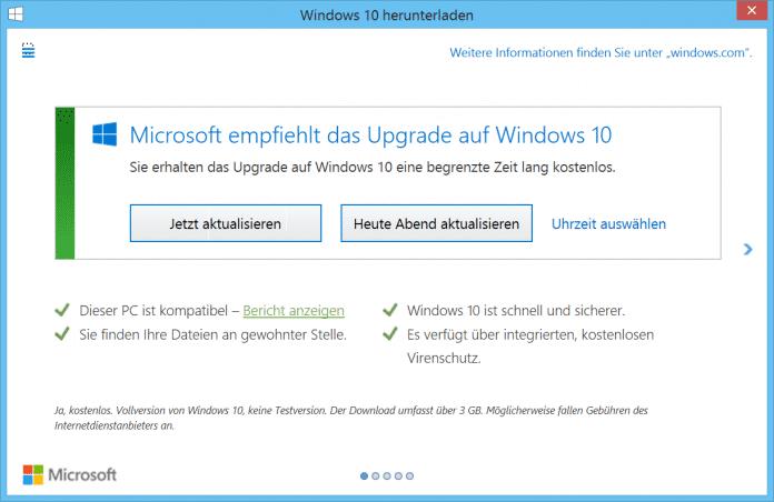 """In früheren GWX-Versionen wie dieser ließ sich das Upgrade durch Klick auf das """"X"""" rechts oben ablehnen."""