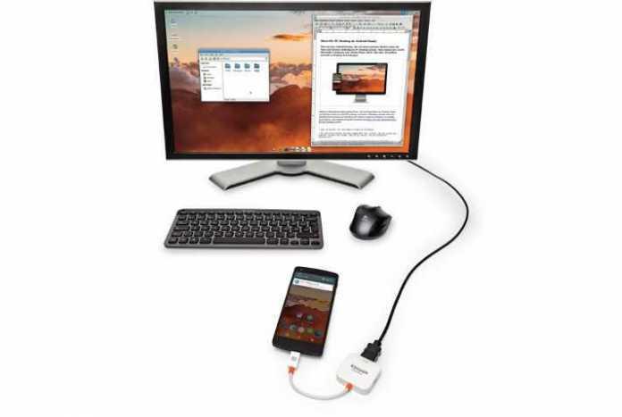 Nach Anschluss eines Display per Slimport-HDMI-Adapter wird dort ein traditioneller PC-Desktop angezeigt.
