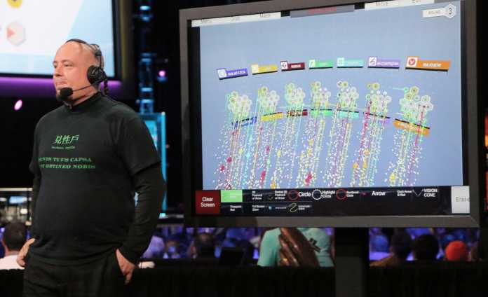 Moderator neben Bildschirm