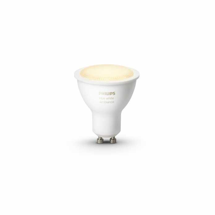 Die GU10 White and Ambiance hat die Höhe eines herkömmlichen GU10-Leuchtmittels und passt in entsprechende Leuchten oder Deckenspots.