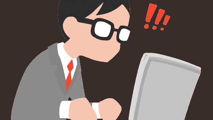Zeichnung eines Überraschten am Laptop