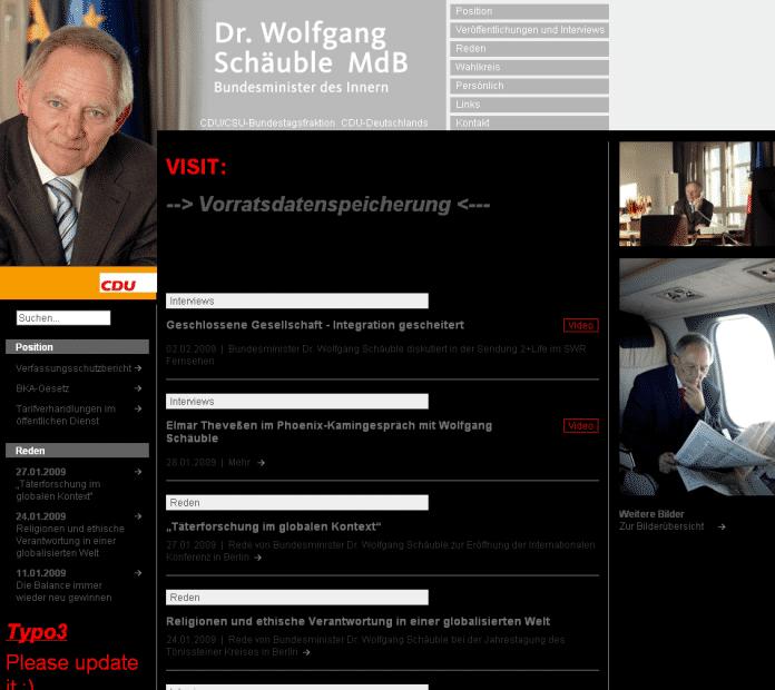 Über die Typo3-Lücke entstellt: die Web-Site des Innenministers