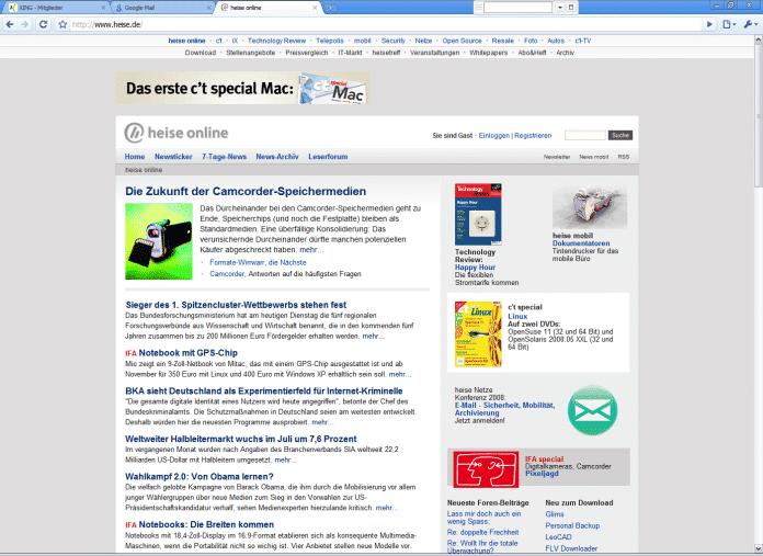 Die Seite von heise online im Chrome-Look