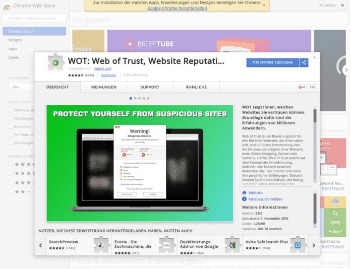 Im Chrome Webstore ist die umstrittene Erweiterung für den Browser<br /> Chrome weiterhin erhältlich.