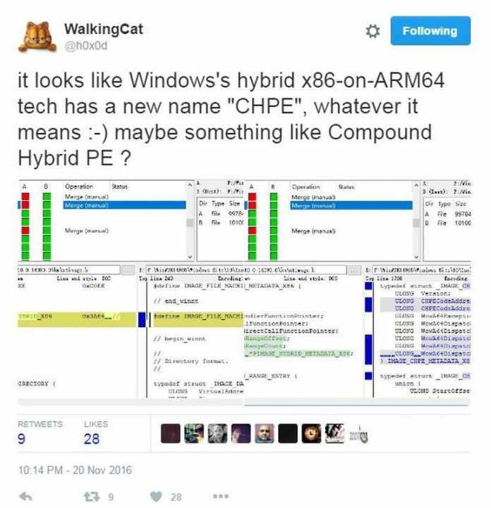 """Twitter-User @h0x0d postet einen Screenshot mit Hinweis auf """"CHPE"""" als Name für den """"x86-on-ARM64""""-Emulator"""