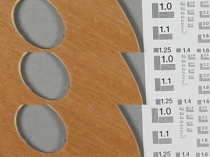 Das Kit-Objektiv bei ISO 100 und f/5.6 an der c't Testszene (Mitte); oben: 12 mm; Mitte: 25 mm; unten: 60 mm