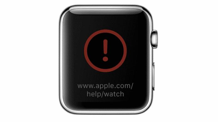 Apple Watch mit rotem Ausrufezeichen