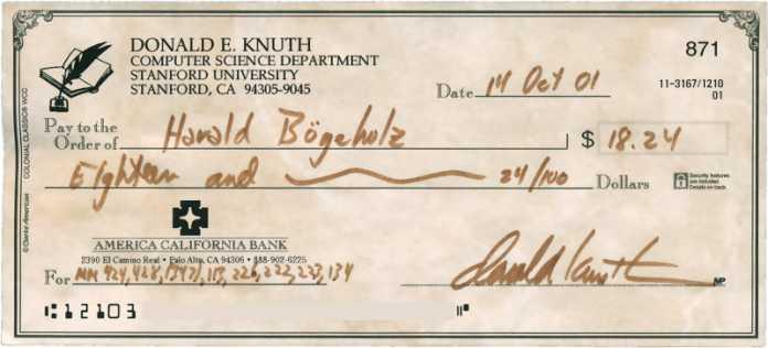 Scheck von Donald E. Knuth