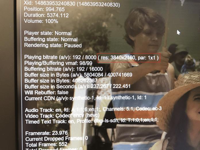 4K funktioniert, wenn die Netflix-Info 3840×2160 als Auflösung ausgibt. Die Overlay-Anzeige lässt sich mit STRG+ALT+SHIFT+D einblenden.