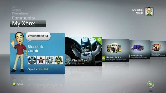 Xbox 360 Menü