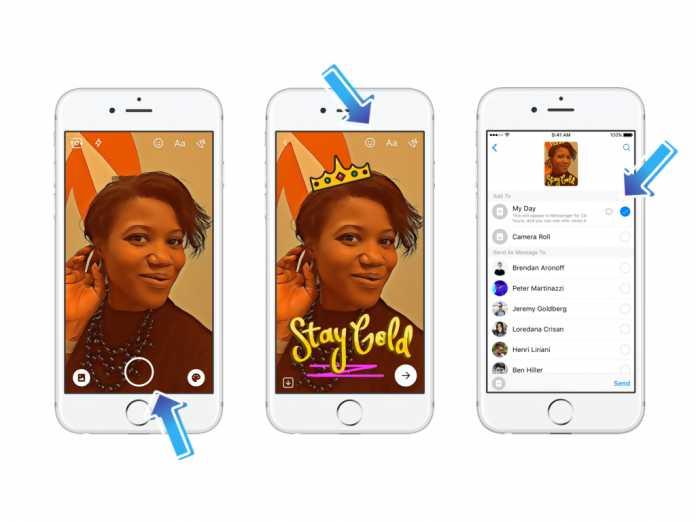 Messenger Day: Selfie knipsen, mit Stickern verschönern und abschicken. Nach 24 Stunden verschwindet das Foto wieder.