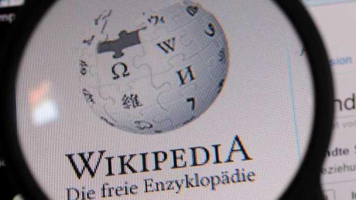 Wikipedia-Logo unter Lupe