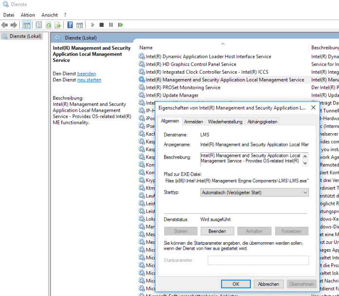 Intel Management and Security Application Local Management Service LMS
