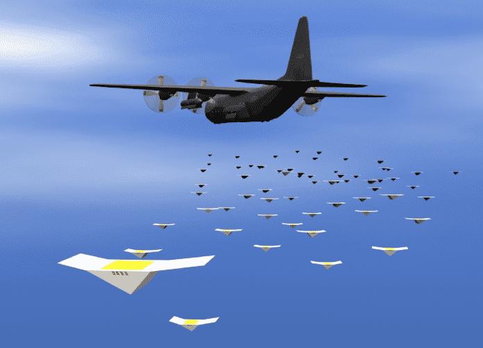 Computervisualisierung eines Schwarms unter einem Militärflugzeug
