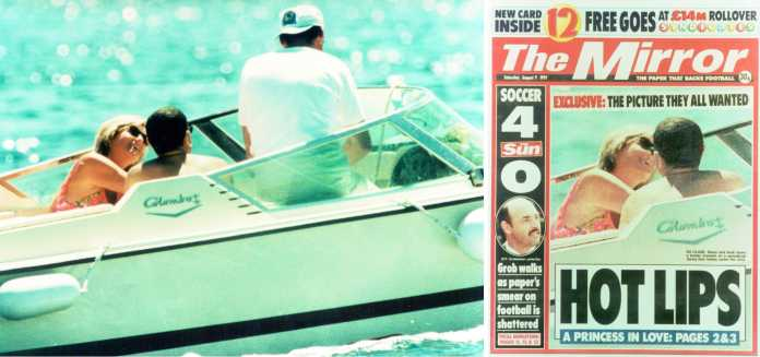 """""""The Mirror"""" erledigte, was Diana zumindest in diesem Moment nicht gelang. Er verdrehte Dodi al Fayed den Kopf, sodass eine Beinahe-Kuss-Szene entstand: """"Das Foto, das alle wollten"""", zu sehen in der Wanderausstellung """"Bilder, die Lügen"""""""
