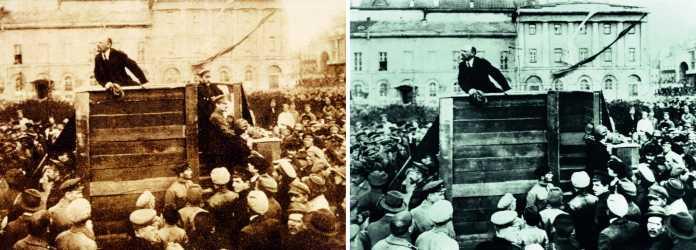 Bildfälschung ist kein digitales Phänomen. Links das Originalfoto von Lenin mit Kamenew und Trotzki auf dem Swerdlow-Platz in Moskau, später wurden Kamenew  und Trotzki herausretouchiert.