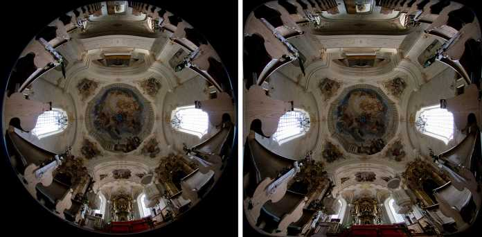 Blick in ein Kirchenschiff. Die Kamera liegt auf dem Boden im Mittelgang, mit dem Objektiv zur Decke gerichtet. (Rechts) Bild quadratisch entzerrt.
