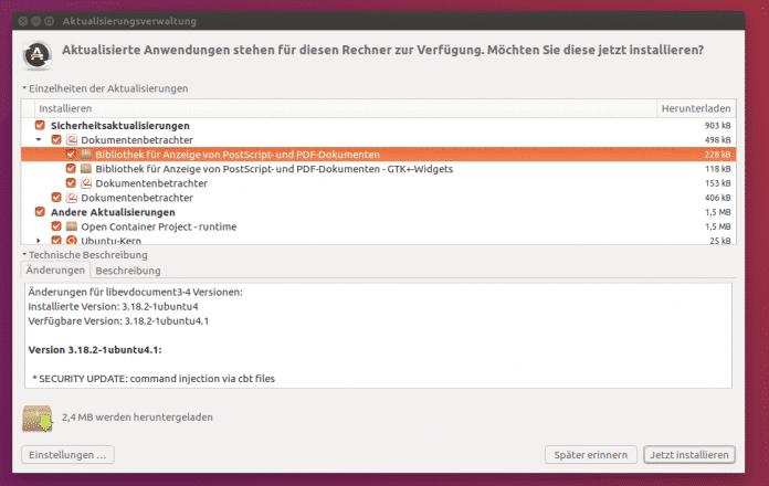 Ubuntu liefert bereits Updates für Evince aus.