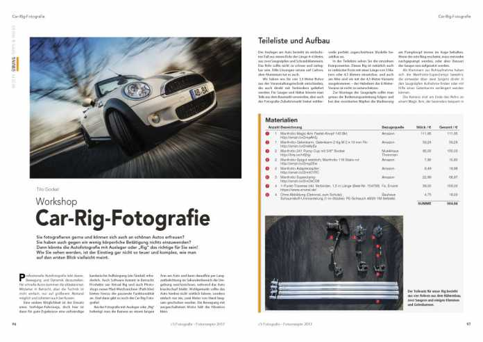 Im Beitrag zur Car-Rig-Fotografie erklärt Autor Tilo Gockel, mit welchem Zubehör und welcher Technik sie besonders dynamische Fahrzeug-Aufnahmen fotografieren.