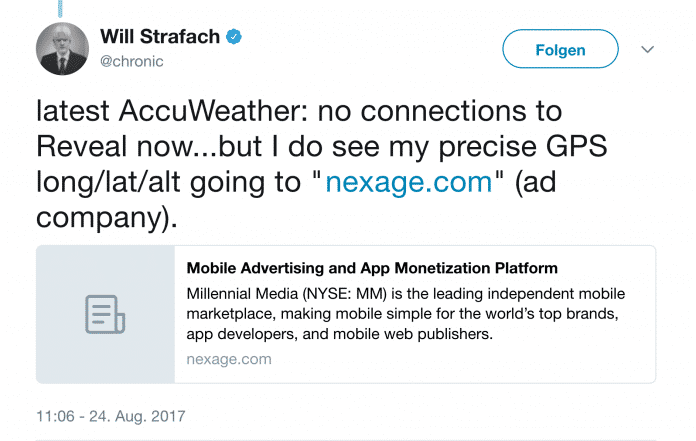 Sicherheitsforscher: AccuWeather-App schickt iPhone-GPS-Daten weiterhin an Dritte