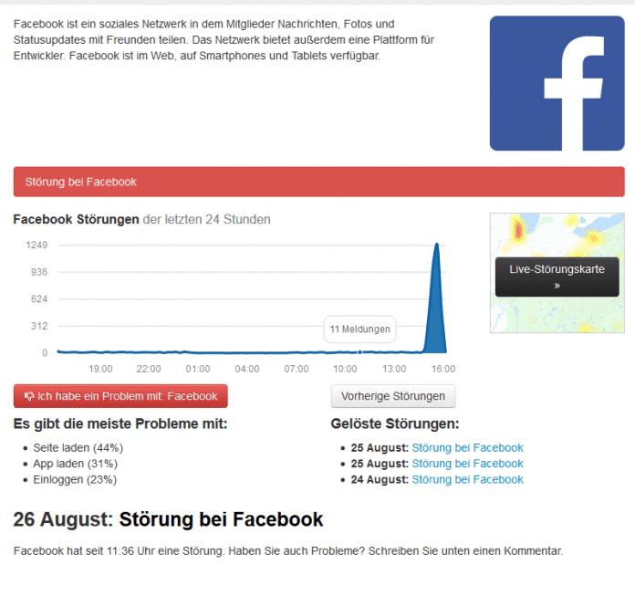 """Facebook meldet Ausfall """"wegen Wartungsarbeiten"""""""