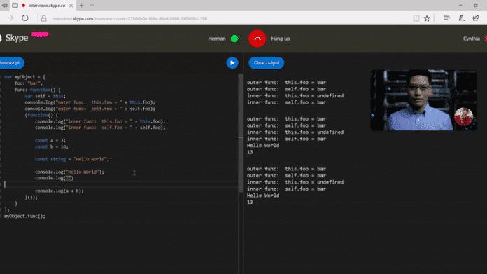 Skype integriert Code-Editor für Bewerbungsgespräche