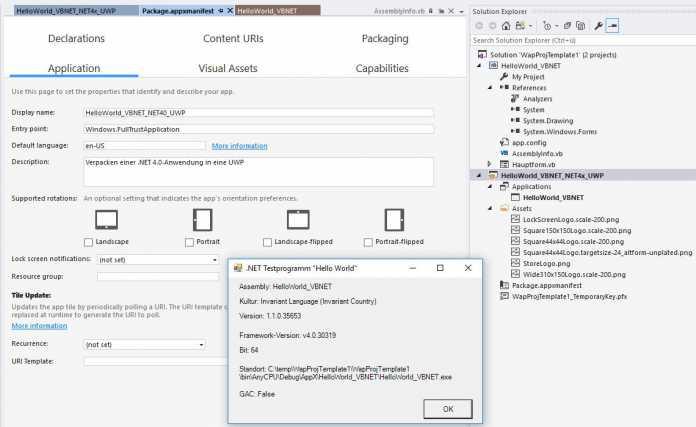 Verpacken einer alten .NET 4.x-Anwendung in eine Universal Platform App mit dem Windows Application Packaging Project in Visual Studio 2017 Update 4
