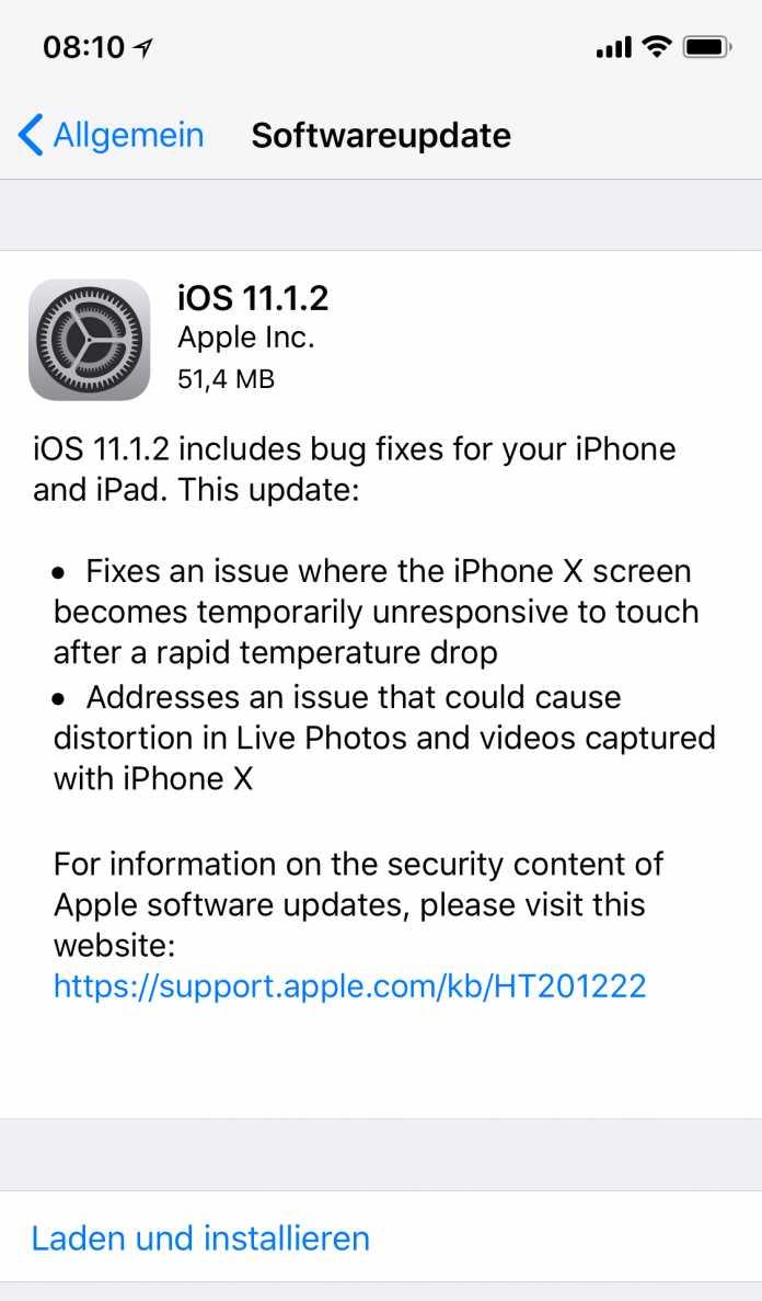 iOS 11.1.2 räumt hauptsächlich Fehler am iPhone X aus.