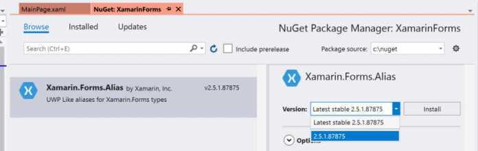 Abbildung 2: Import des Nuget-Pakets Xamarin.Forms.Alias von der lokalen Festplatte