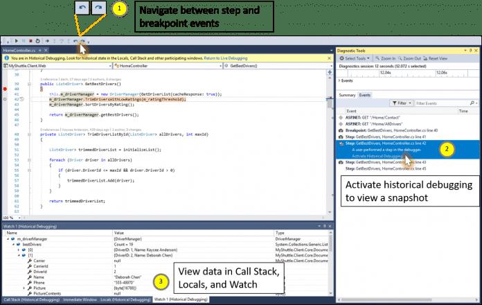Historial Debugger in Visual Studio 15.5