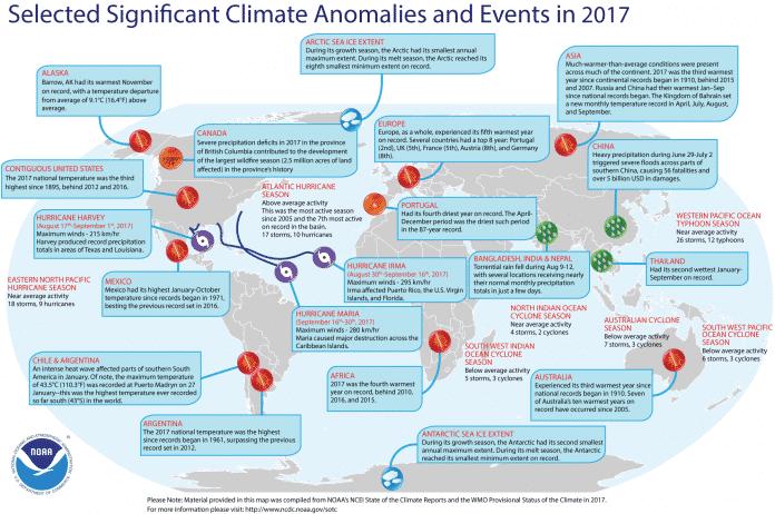 Karte ausgewählter Klima-Anomalien