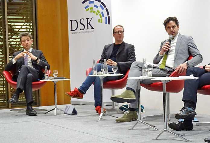 Nikolaus Forgó, Markus Beckedahl, Winfried Veil (v.l.n.r.) auf der Datenschutzkonferenz: Datensouveränität nur ein Lobby-Begriff der Big-Data-Industrie?