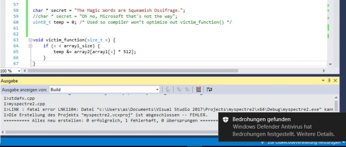 """Keine Chance mehr, Programme mit """"Squeamish Ossifrage"""" aus dem Visual Studio zu erstellen. Auch """"malicious_x = %p"""" ist nicht erlaubt"""