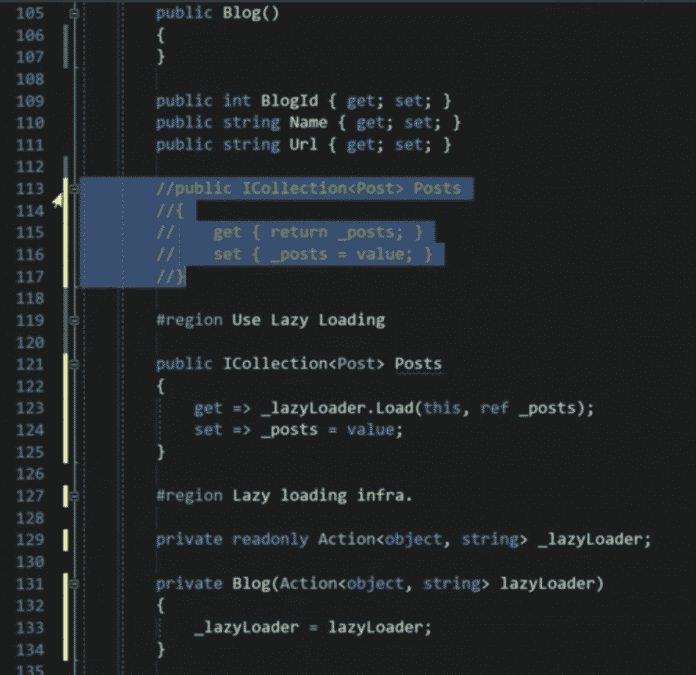Unterstützung für Lazy Loading durch Ergänzungen in den Navigationseigenschaften einer Entitätsklasse in Entity Framework Core 2.1
