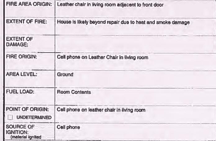 Auszug aus dem Untersuchungsbericht der Feuerwehr, den die Kommune nur nach Antrag unter dem Informationsfreiheitsgesetz der Provinz Britisch-Kolumbien herausgibt.