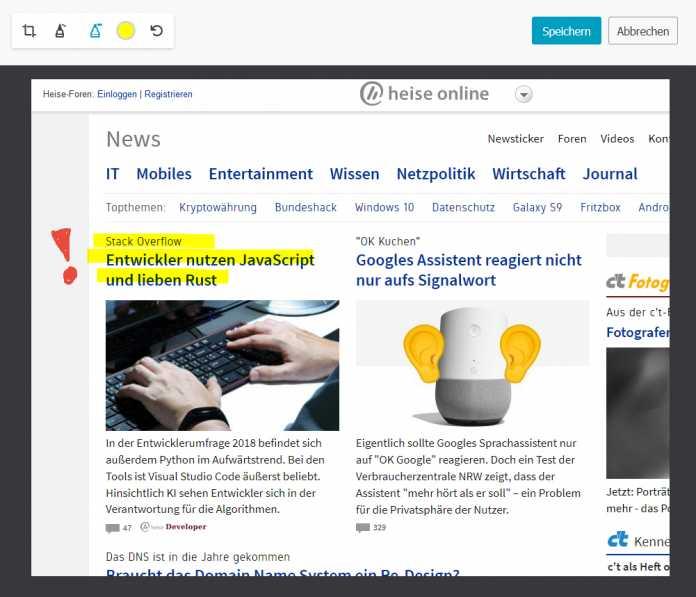 """""""Firefox Screenshots"""" erzeugt Bildschirmfotos direkt im Browser. Neuerdings lassen sich die Bilder auch bemalen und mit Notizen versehen."""